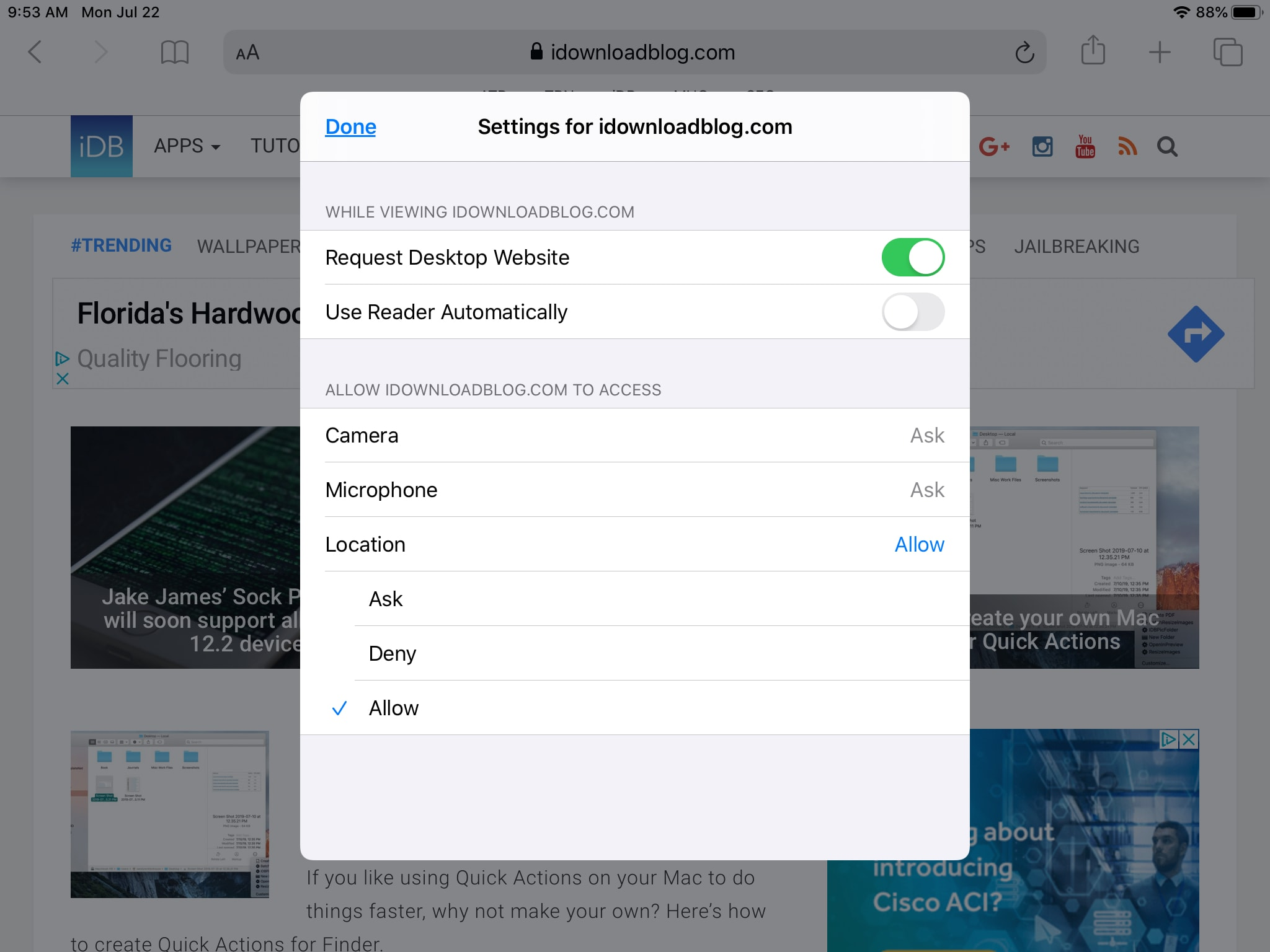 Safari iPadOS Per-Site Settings