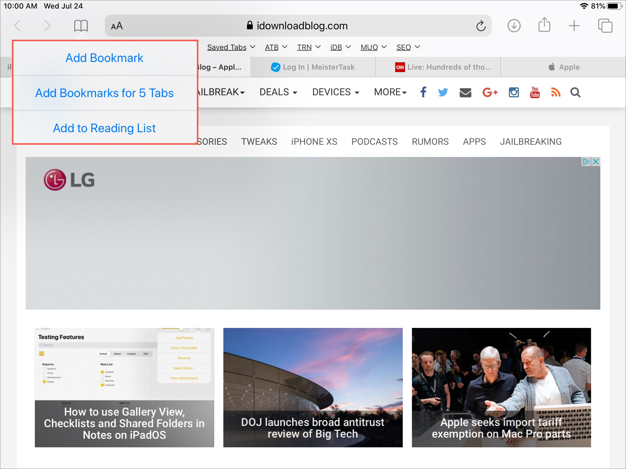 Save Bookmarks for Open Tabs Safari iPadOS