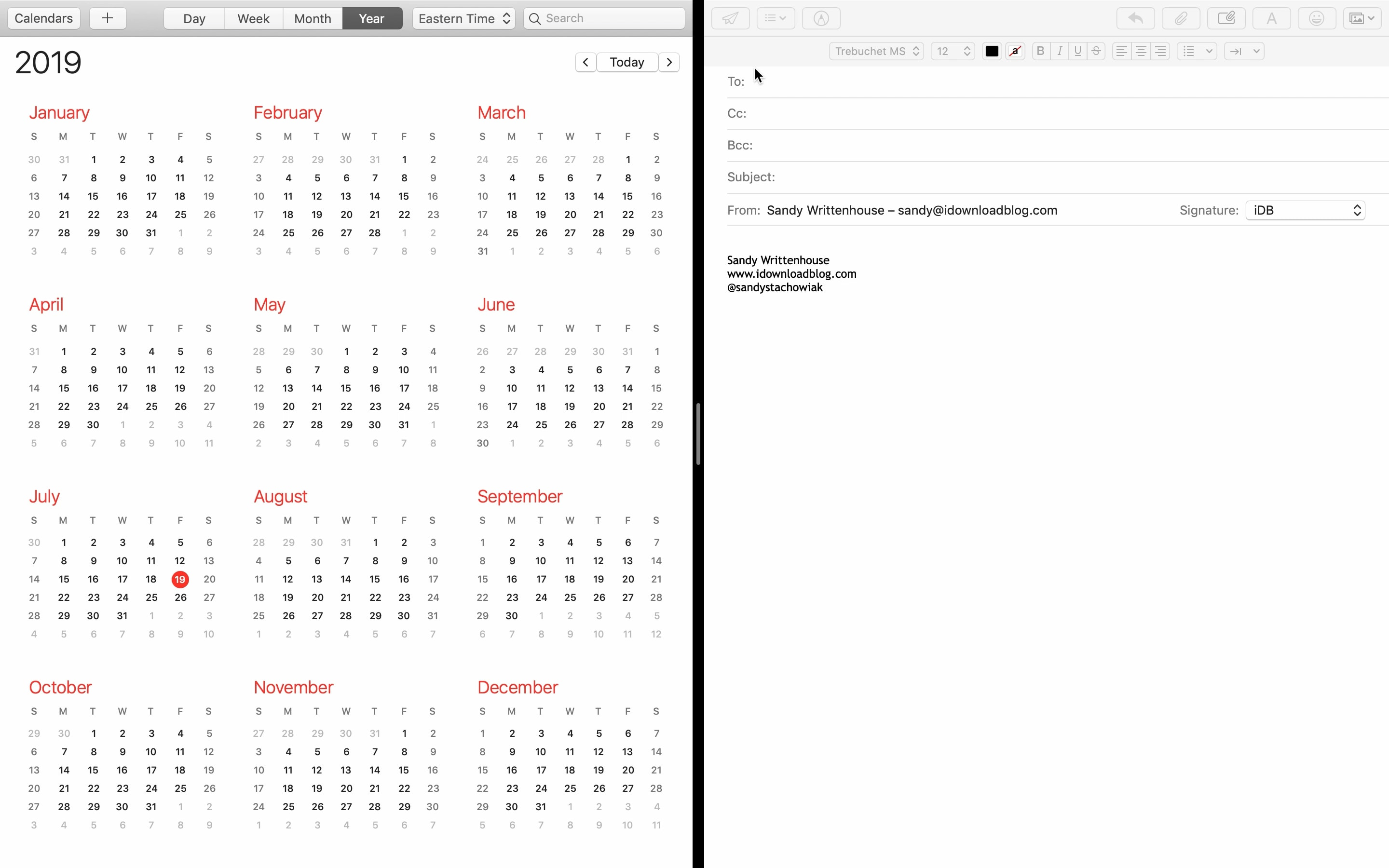 Split View Mac Email Calendar