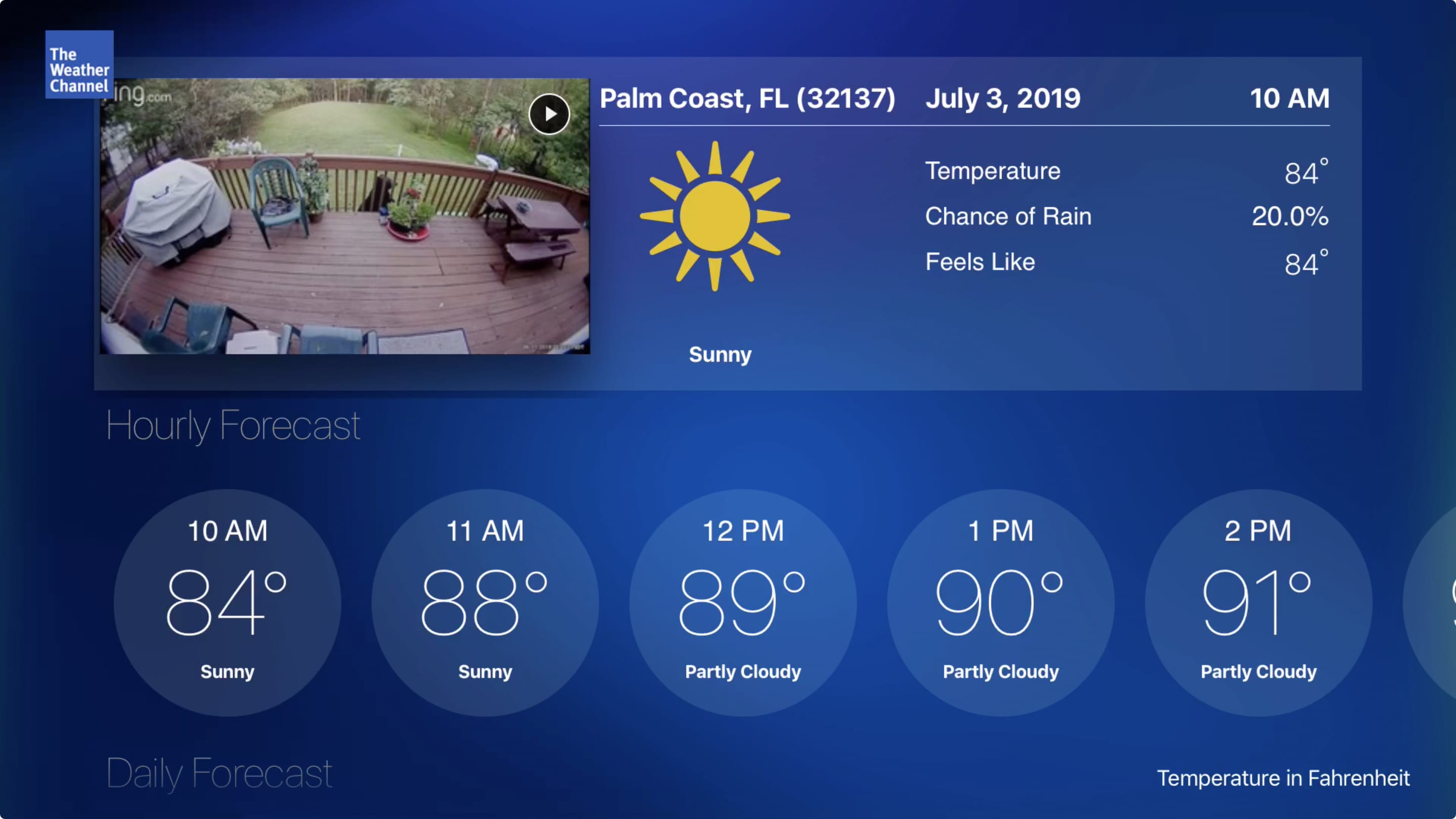 The Weather Channel on Apple TV
