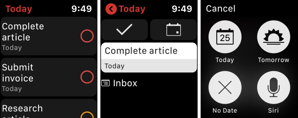 Todoist Apple Watch to-do list