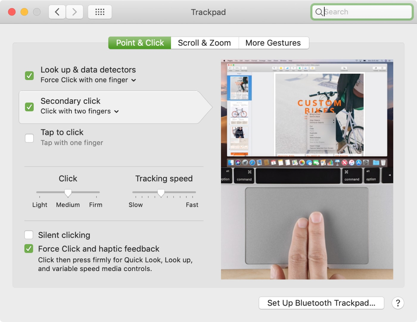 Trackpad Settings Point and Click Mac
