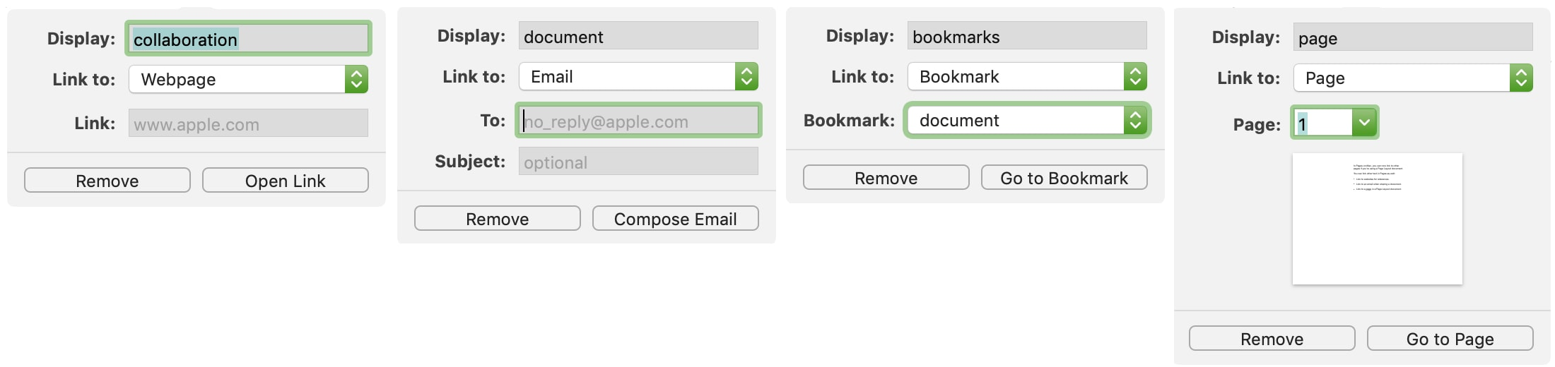 Types of Links in Pages on Mac
