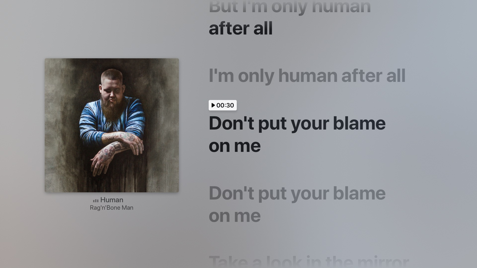 time-synced lyrics Apple TV