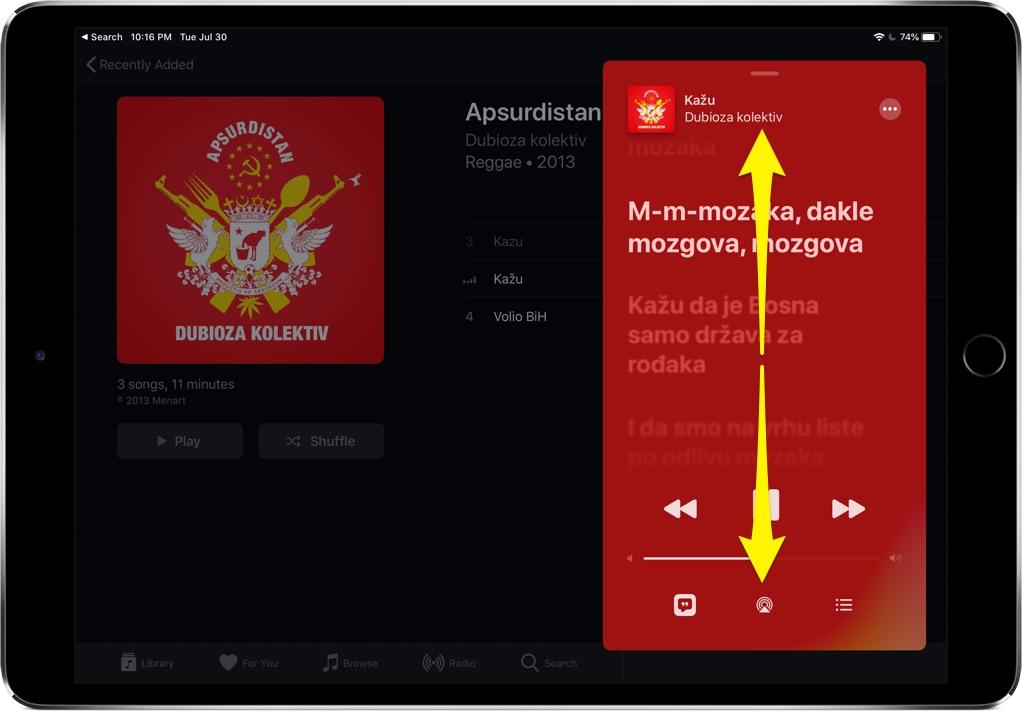 time-synced lyrics iPad