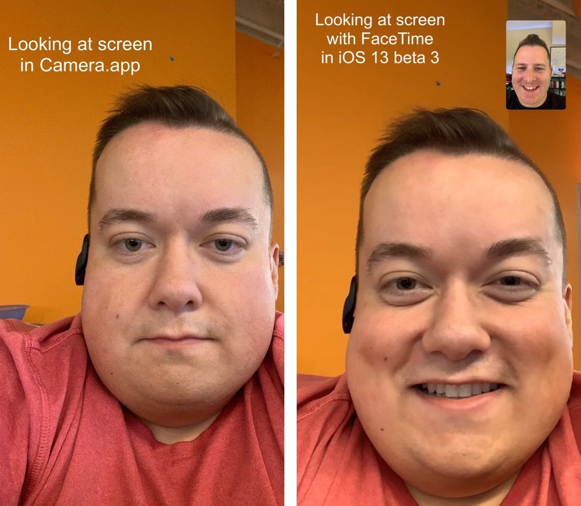 iOS 13 solves the eye contact problem on FaceTime video