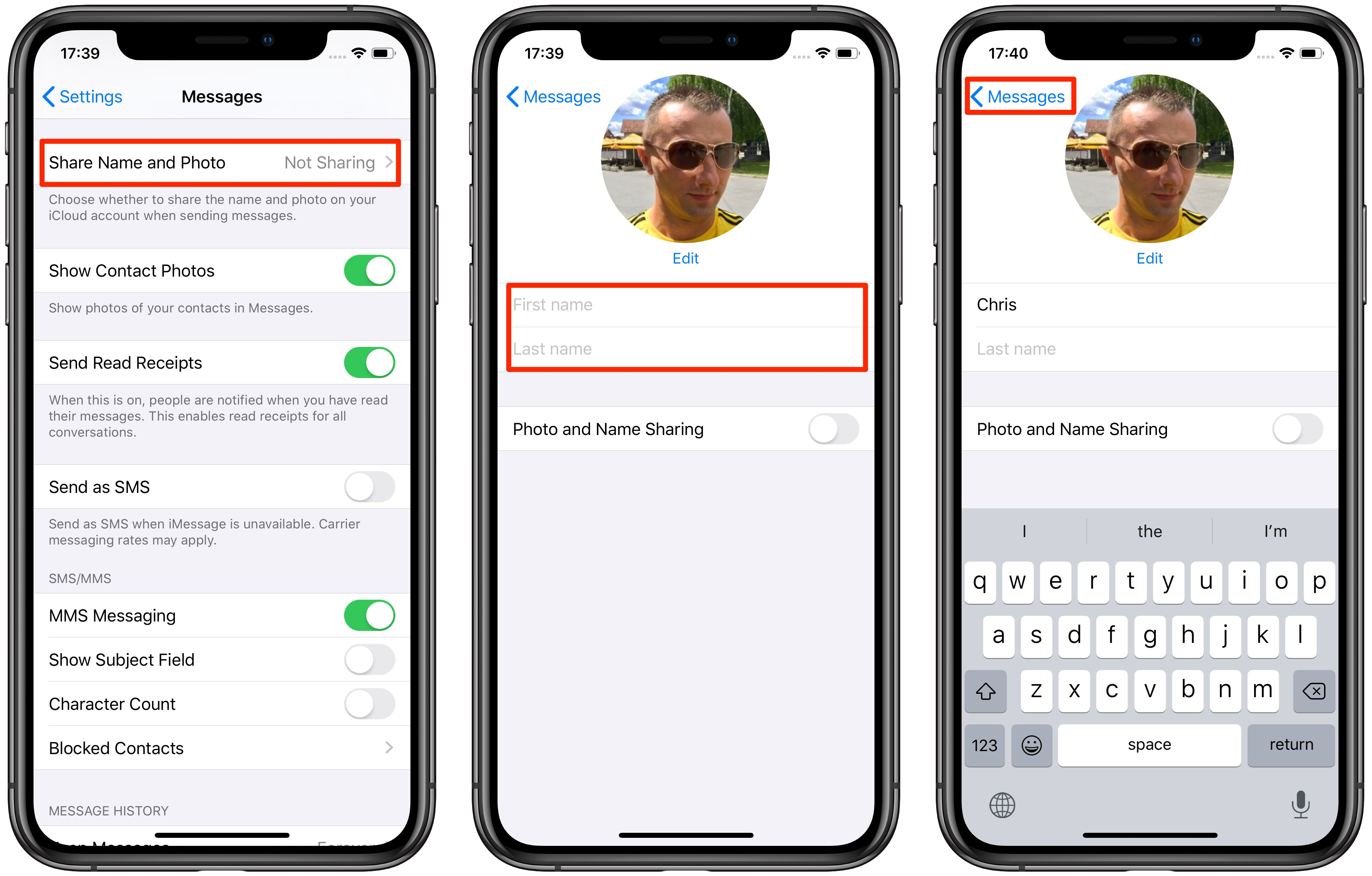 Creating an iMessage profile with a custom profile picture