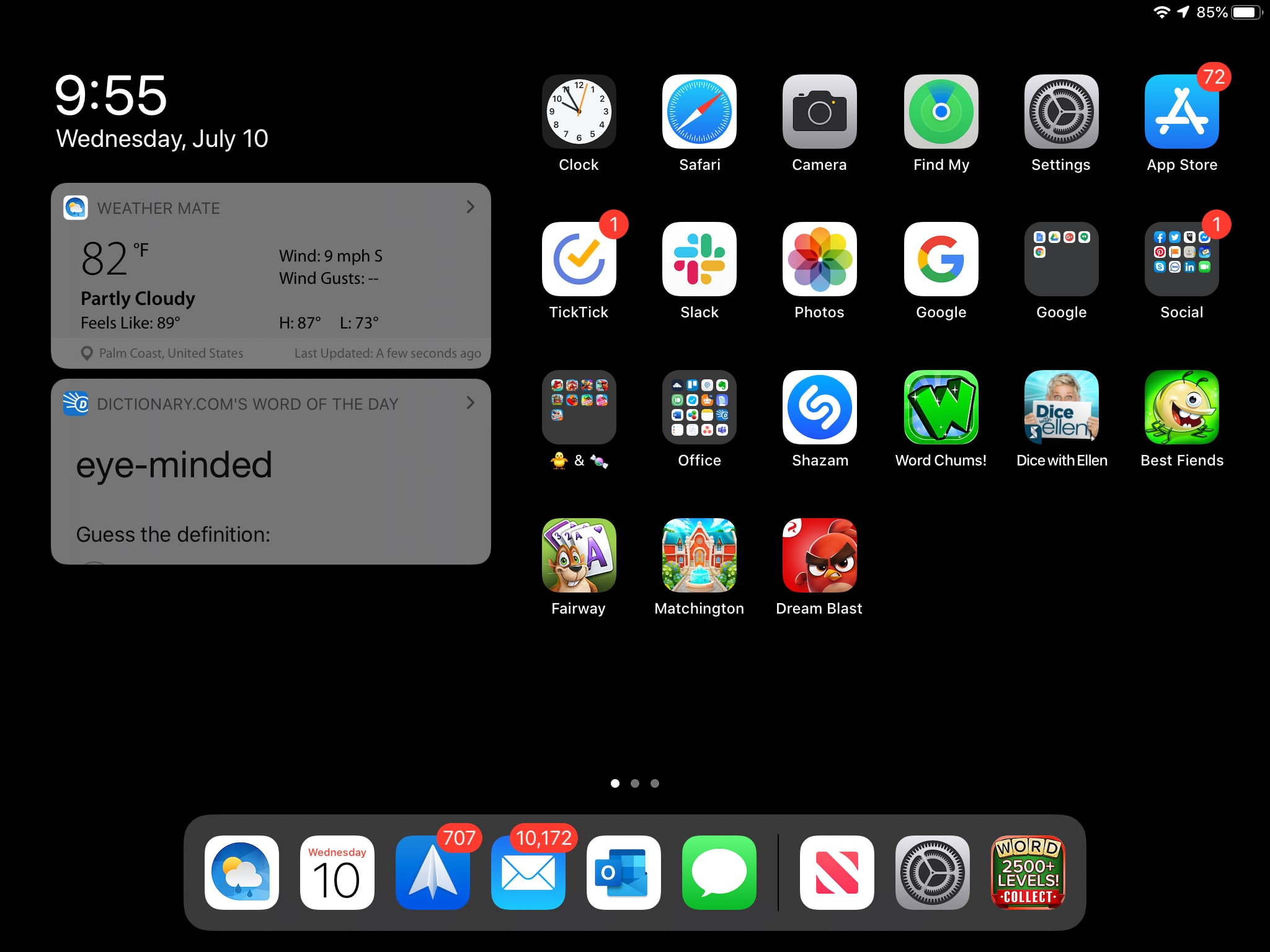 iPad Today View Pinned Widgets