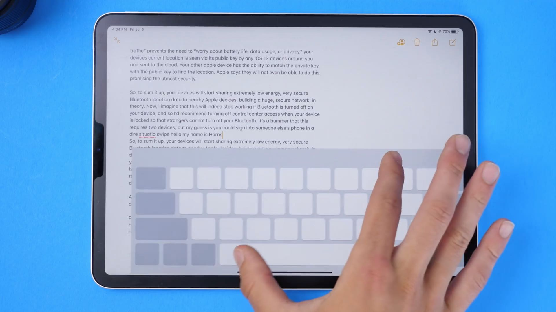 iPad swipe keyboard - pinching