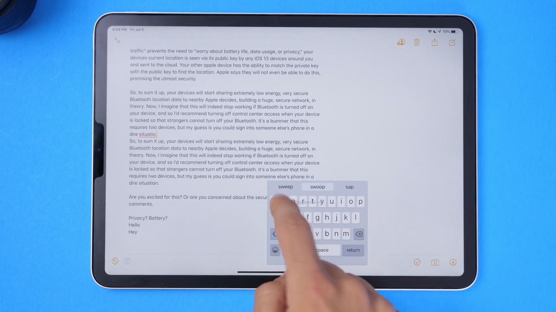 iPad swipe keyboard - QuickPath