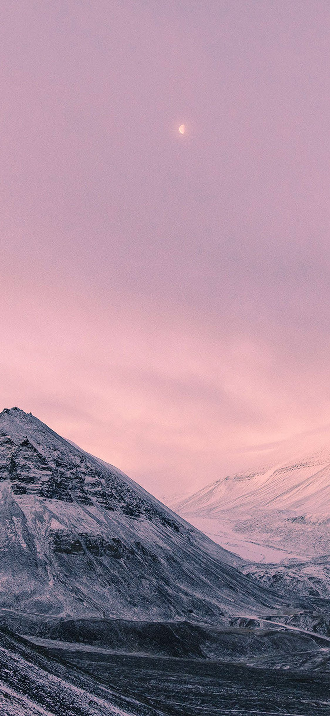 snow mountains pink moon iphone wallpaper