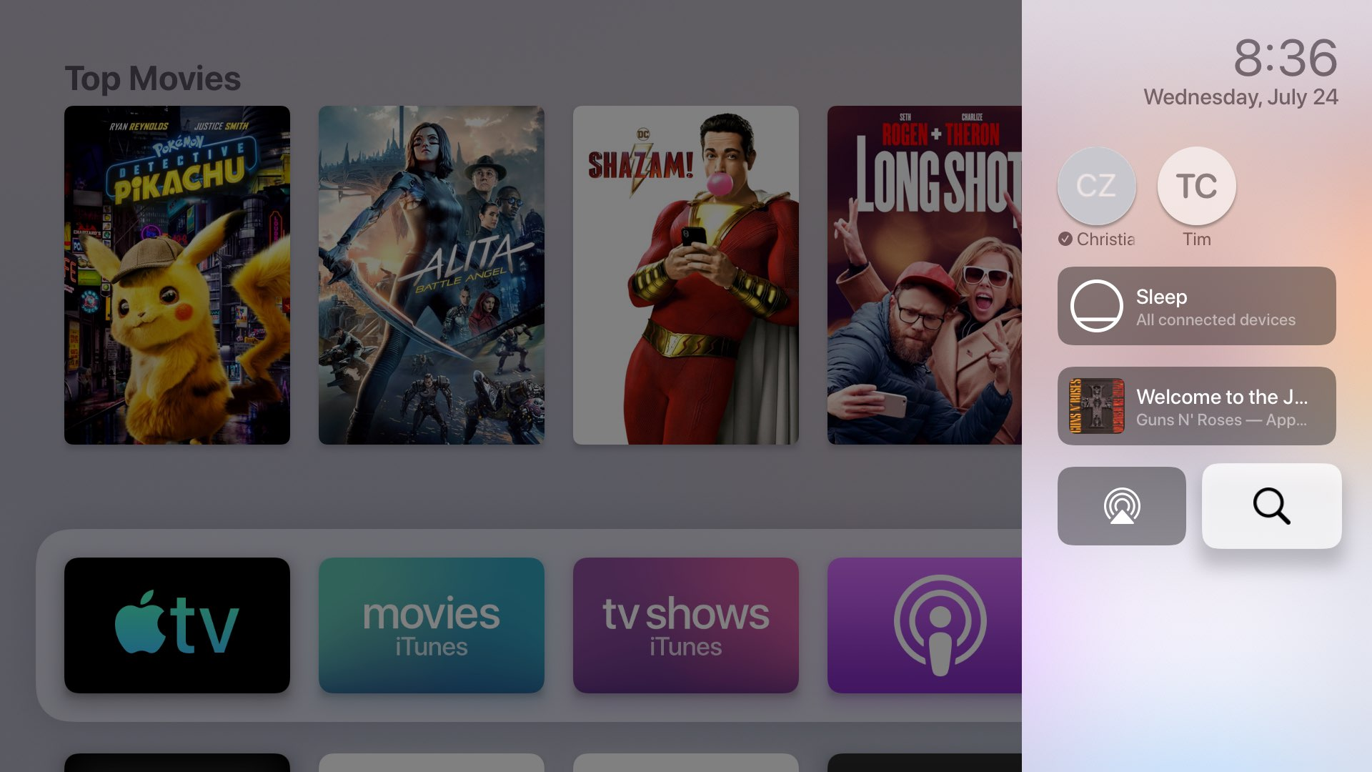 tvOS Control Center Apple TV