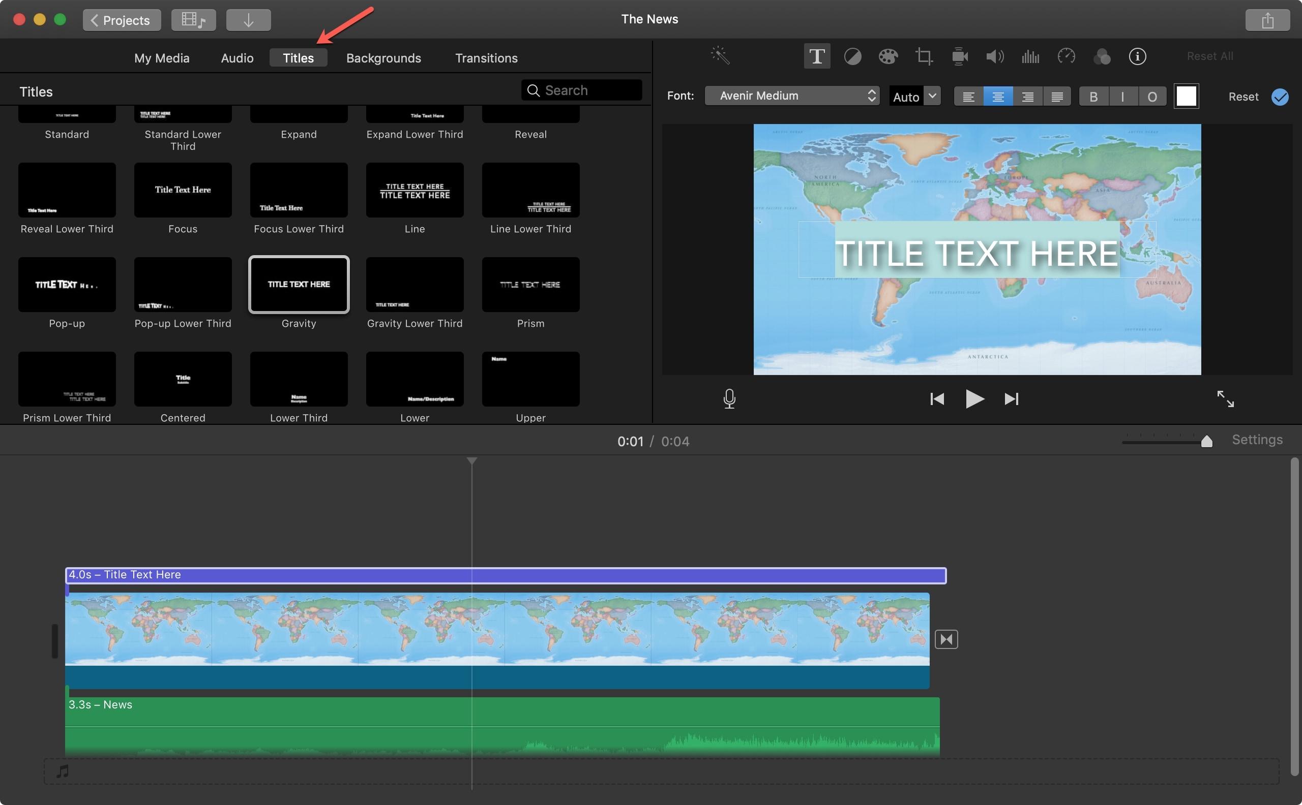Add a Title iMovie Mac
