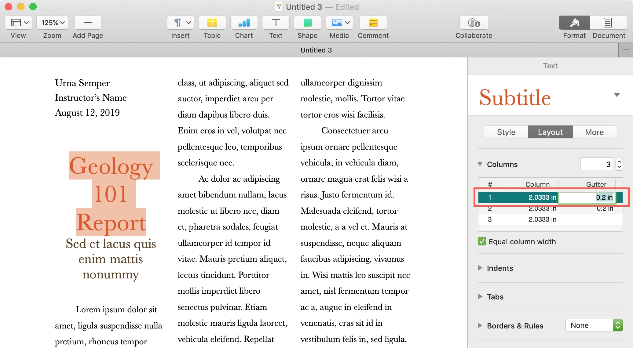 Adjust Columns in Pages on Mac