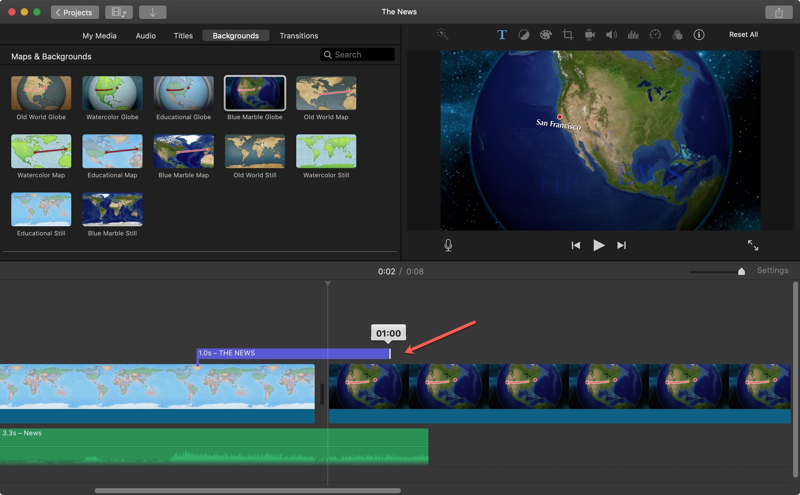 Adjust Title Duration iMovie Mac
