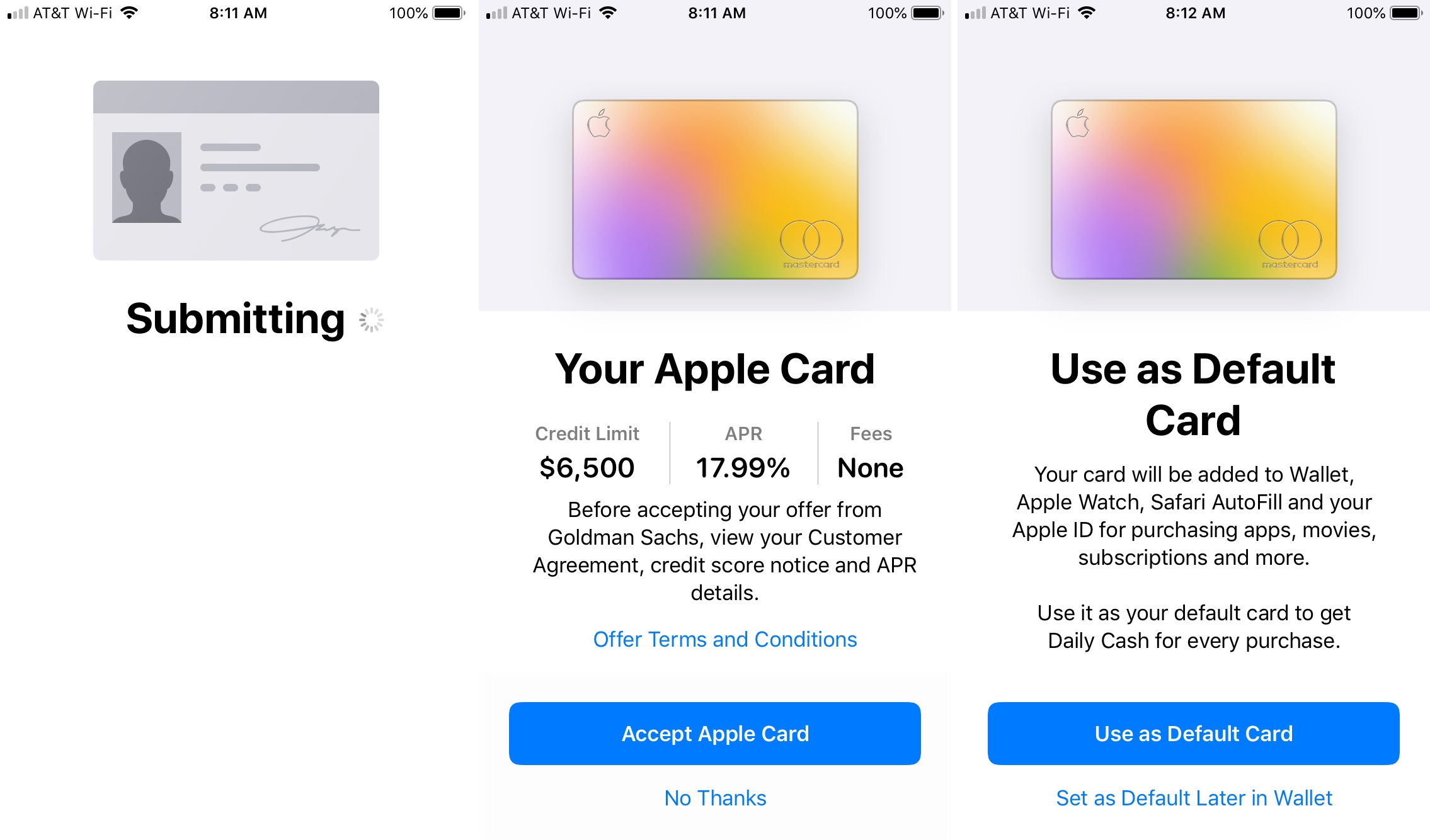 Apply for Apple Card Approved Details