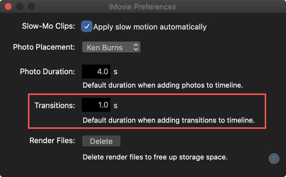 Change Transition Default Duration iMovie Mac