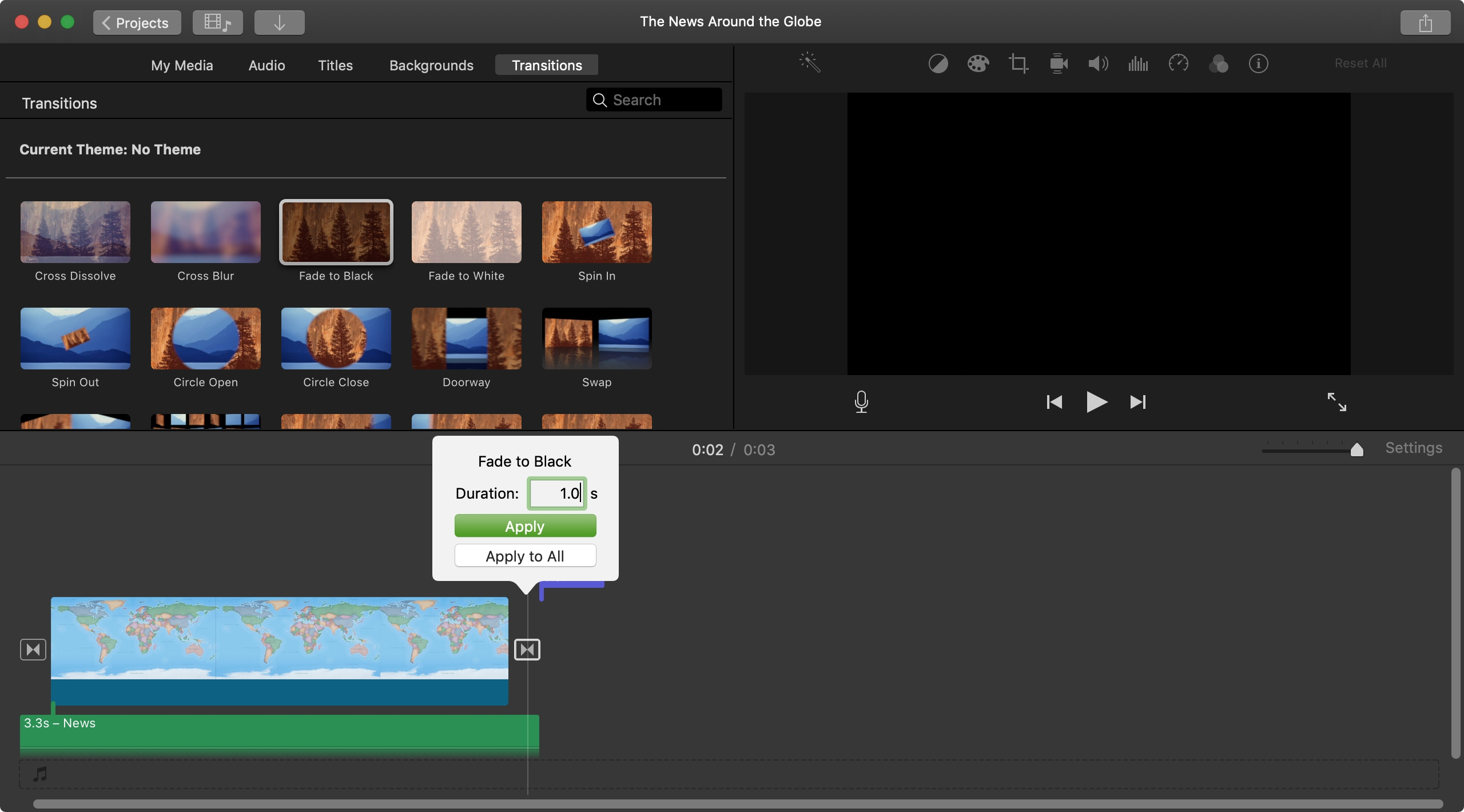 Change Transition Duration iMovie Mac