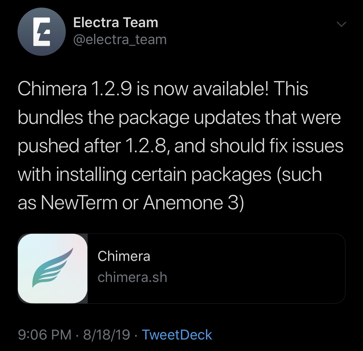 Chimera v1.2.9 released with bug fixes and usability improvements