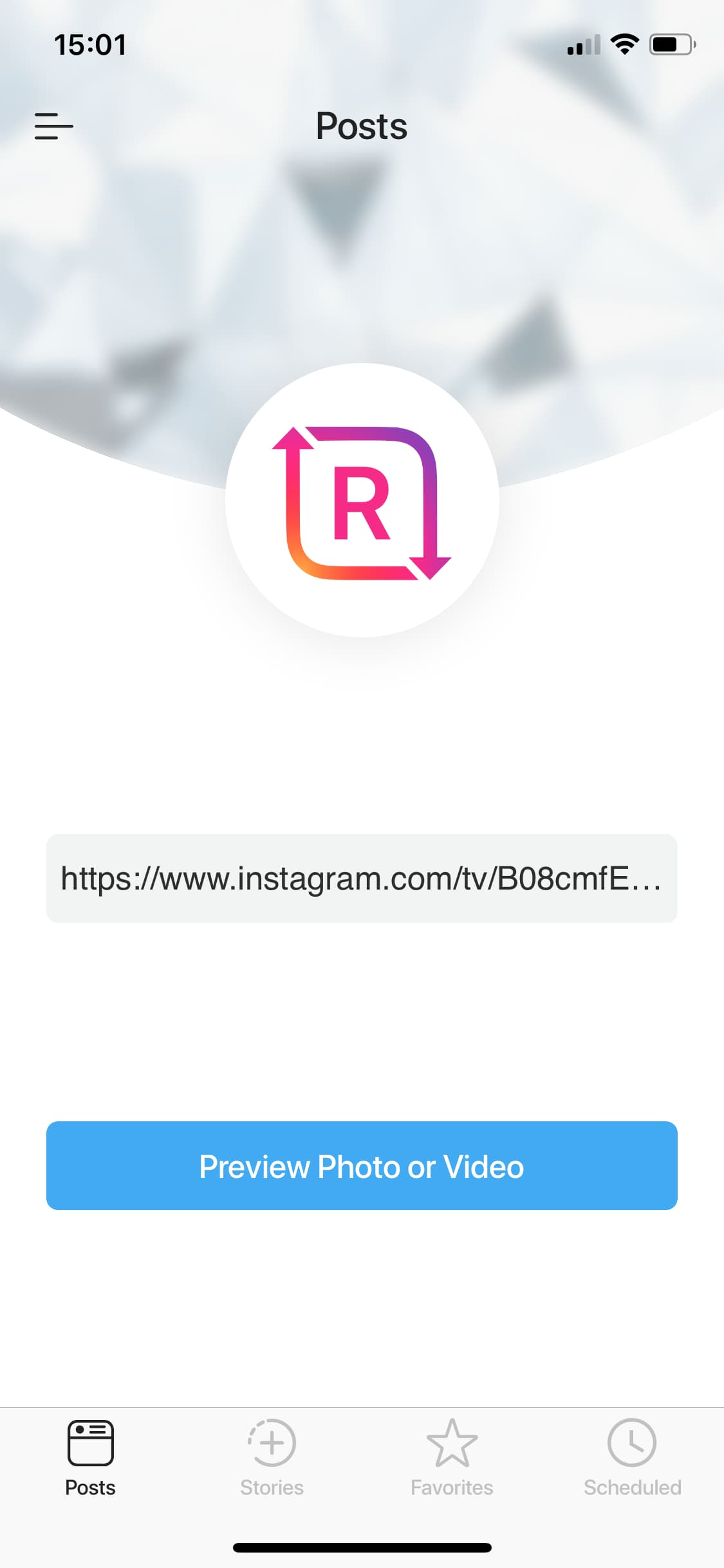 Copy IGTV link to Regrammer