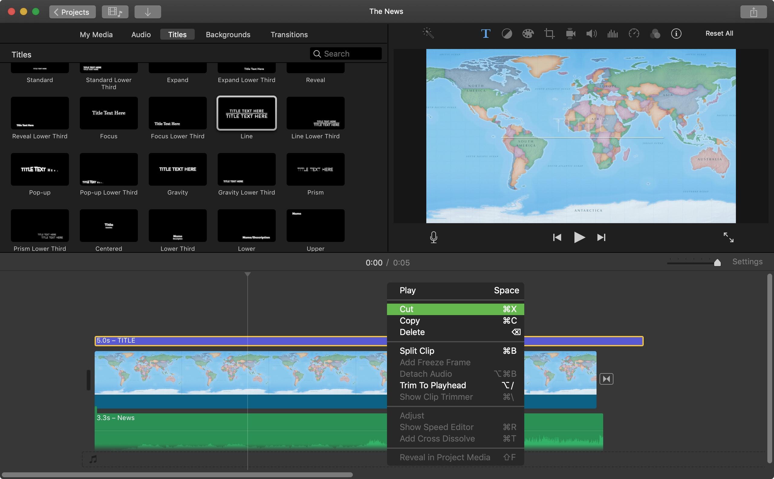 Delete Title iMovie Mac