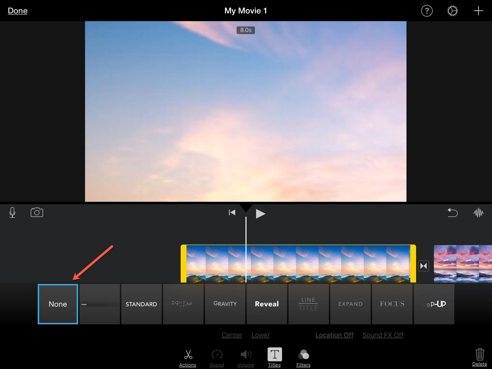 Delete Title iMovie iPad