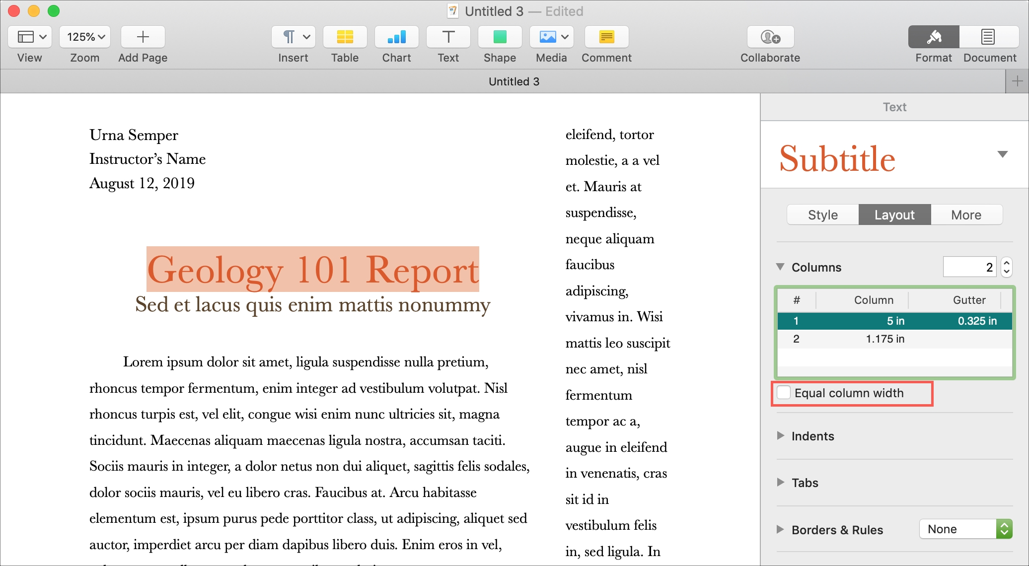 Different Sized Columns in Pages on Mac
