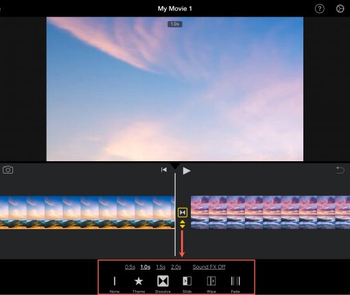 Edit Transition iMovie iPad