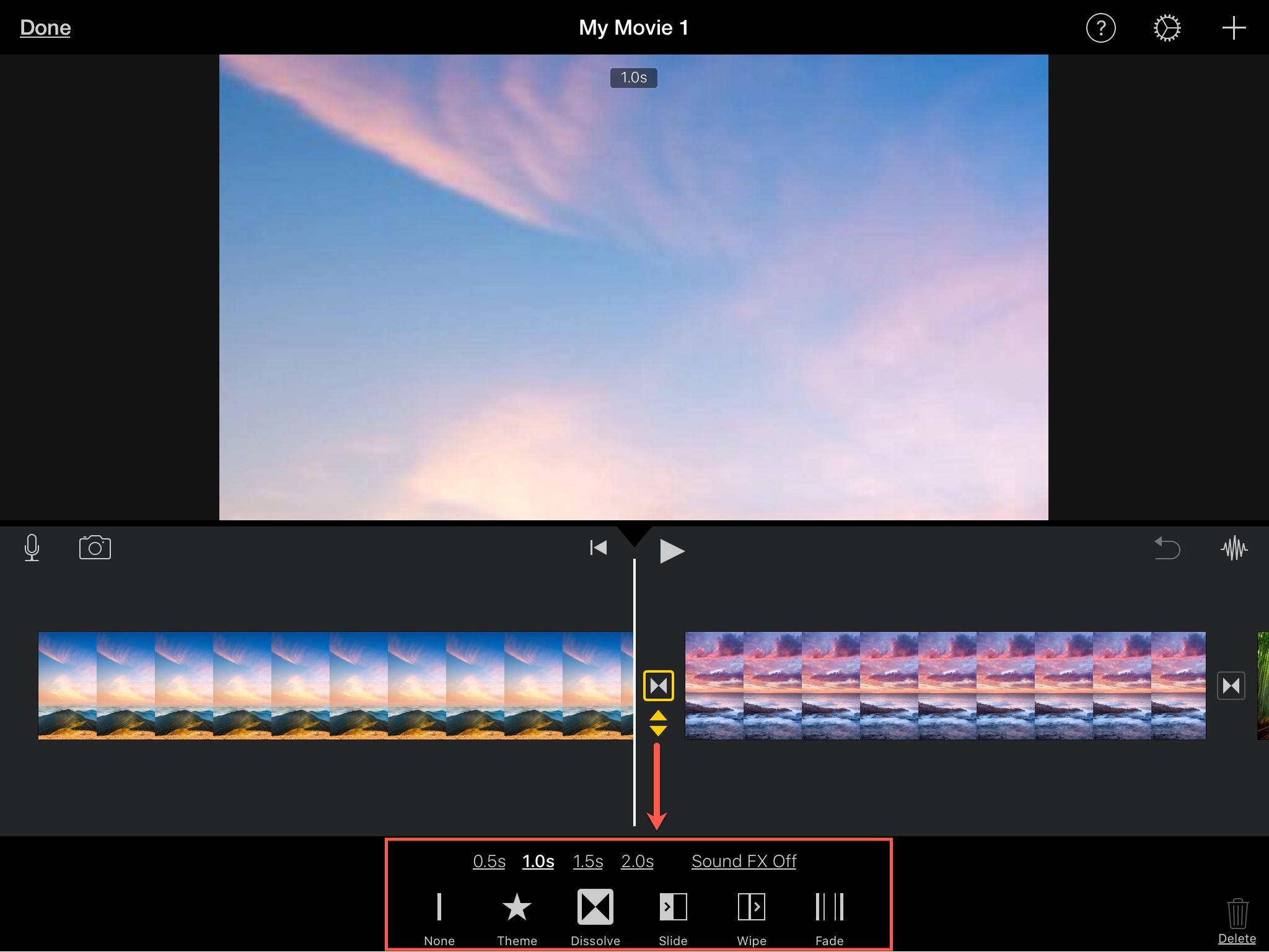 Edit Transition iMovie iPad