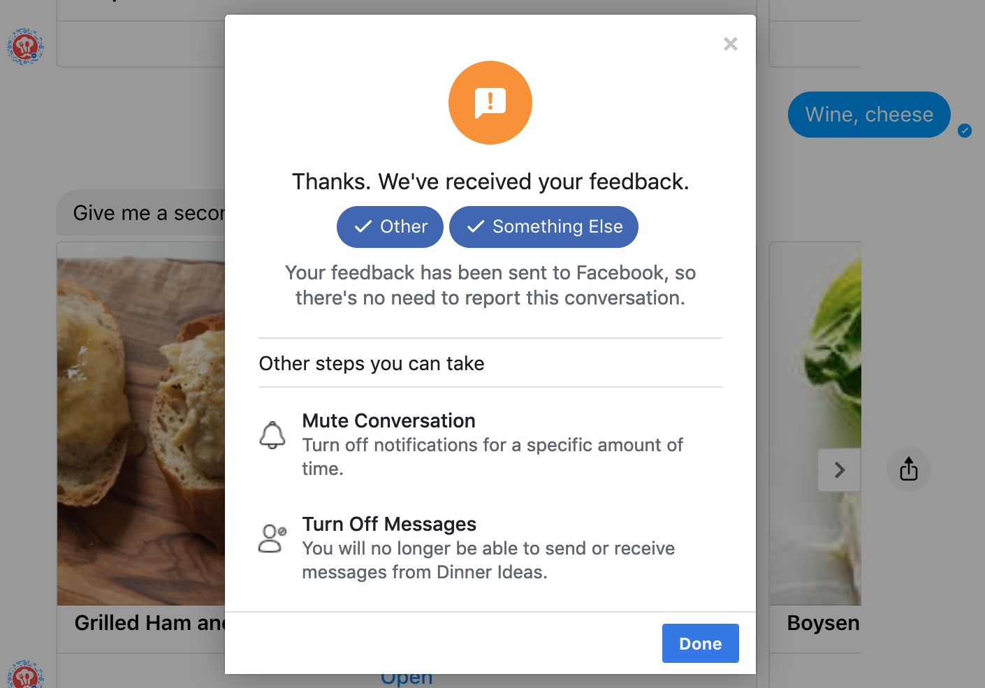 FB Messenger Send Feedback Web