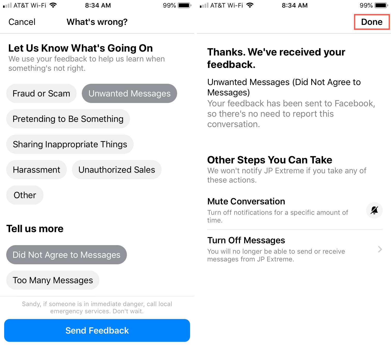 FB Messenger Send Feedback iPhone