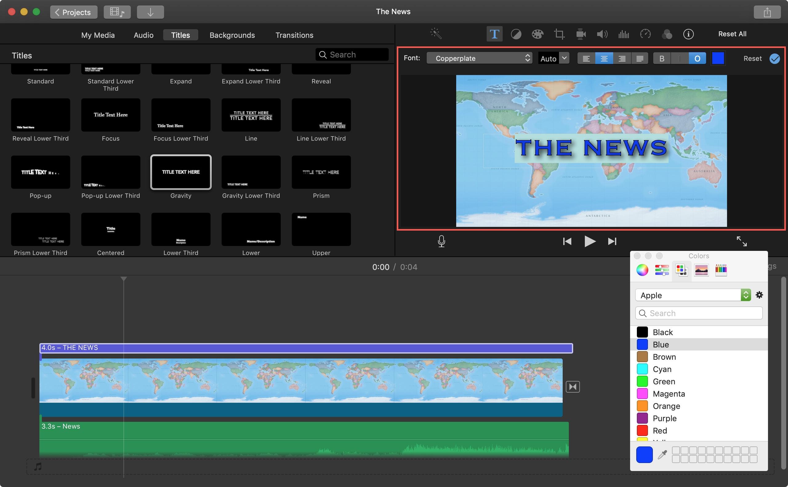 Format Title iMovie Mac
