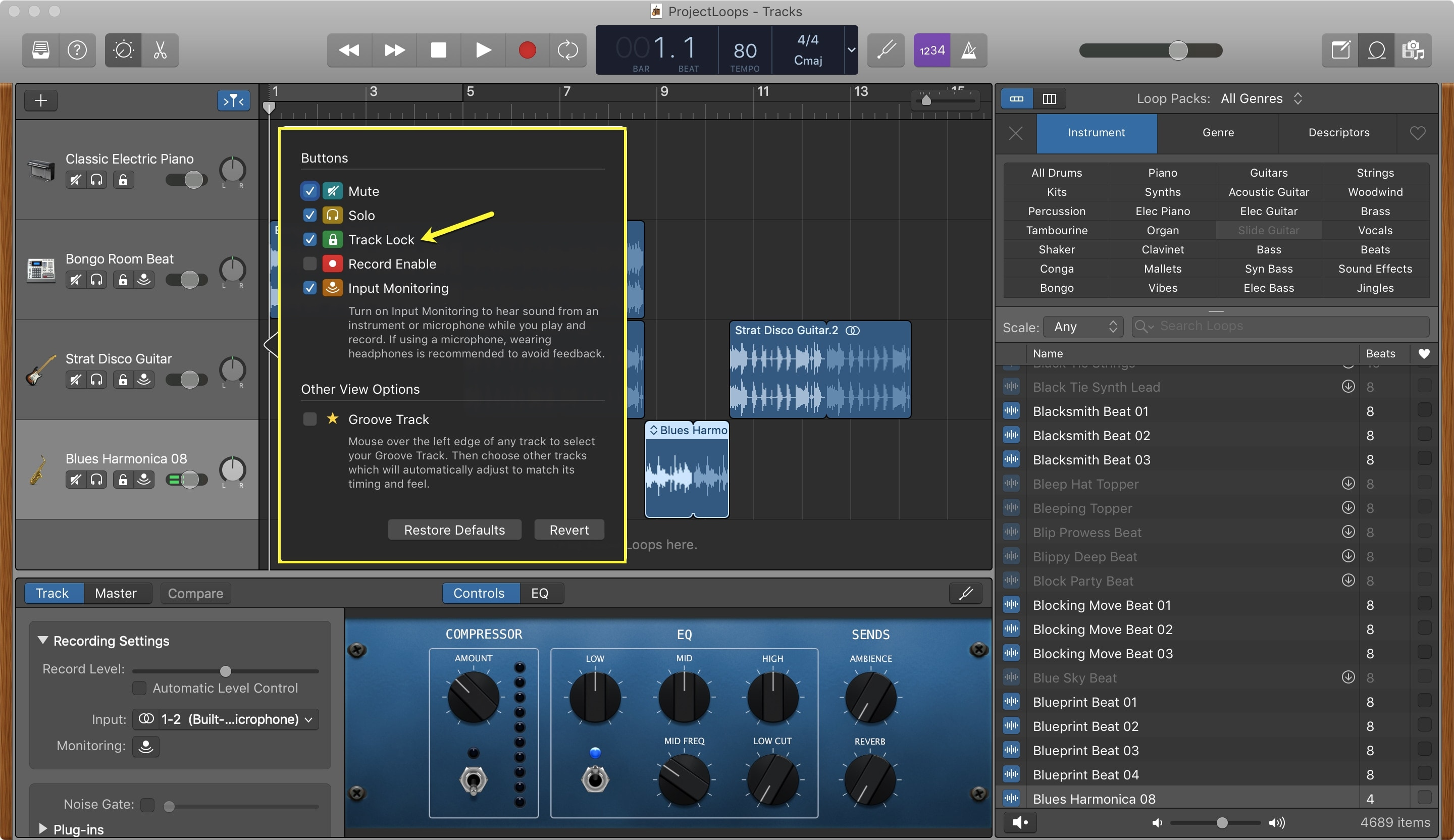 GarageBand Enable Lock Track Button Mac