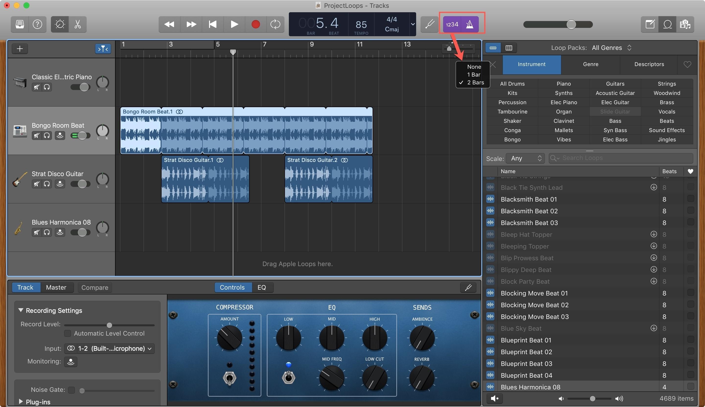 GarageBand Metronome CountIn Mac