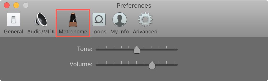 Configuración de metrónomo de GarageBand Mac