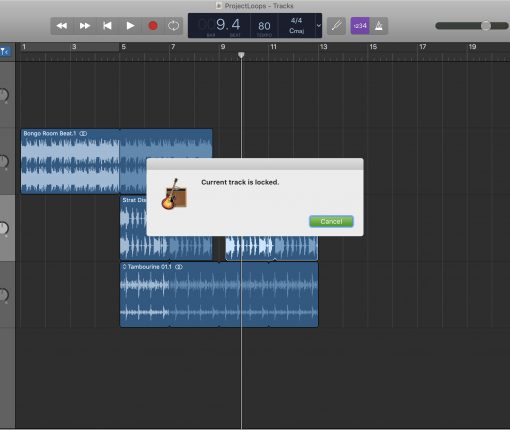 GarageBand Track Locked Mac