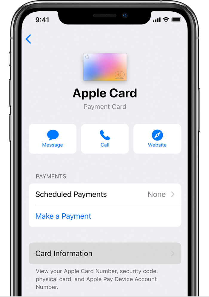 Apple Card number Wallet app - card information