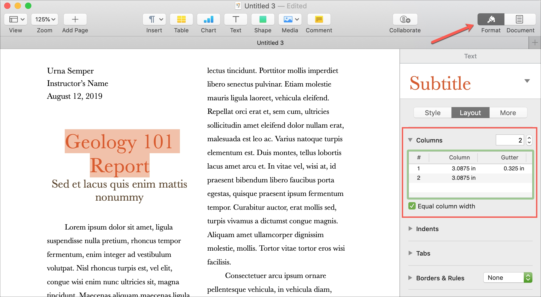 Insert Columns in Pages on Mac