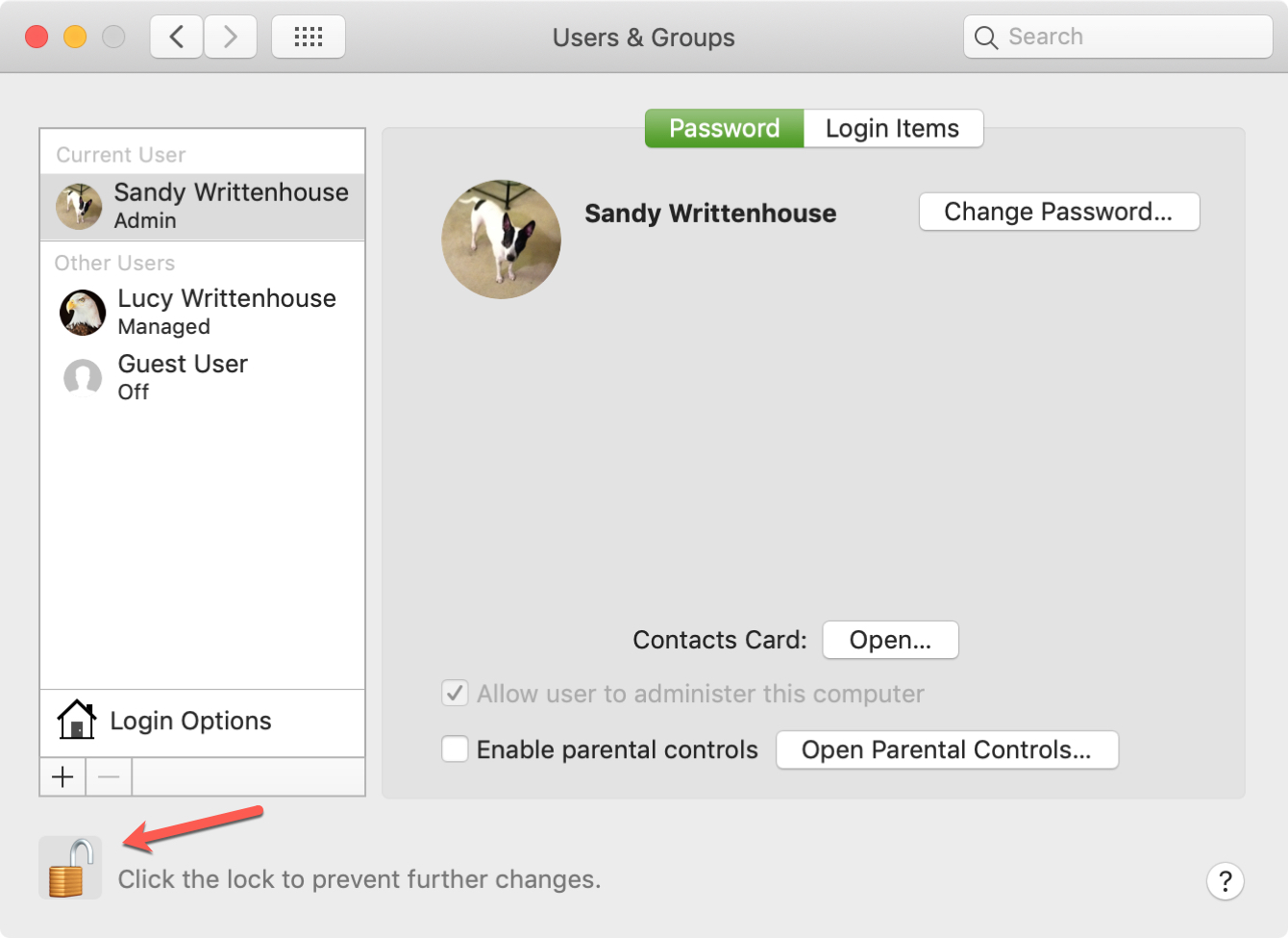 Lock Users and Groups on Mac
