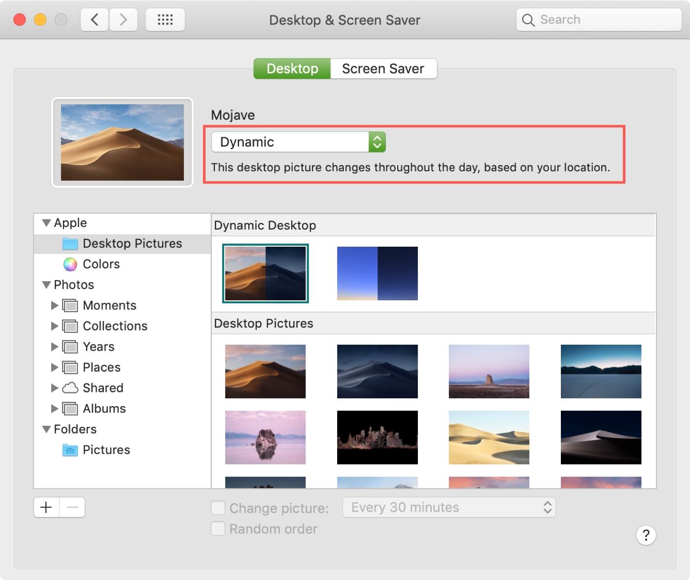 Mac System Preferences Dynamic Desktop