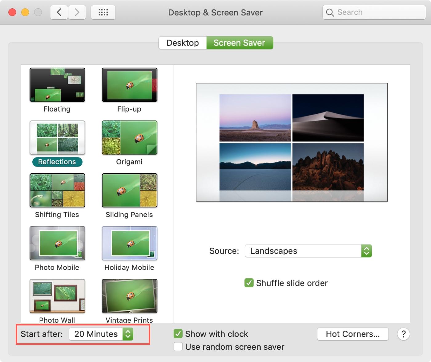 Mac System Preferences Screen Saver Timing