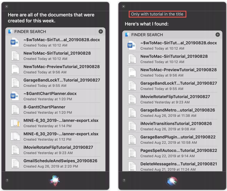 Narrow Down Siri Results Mac