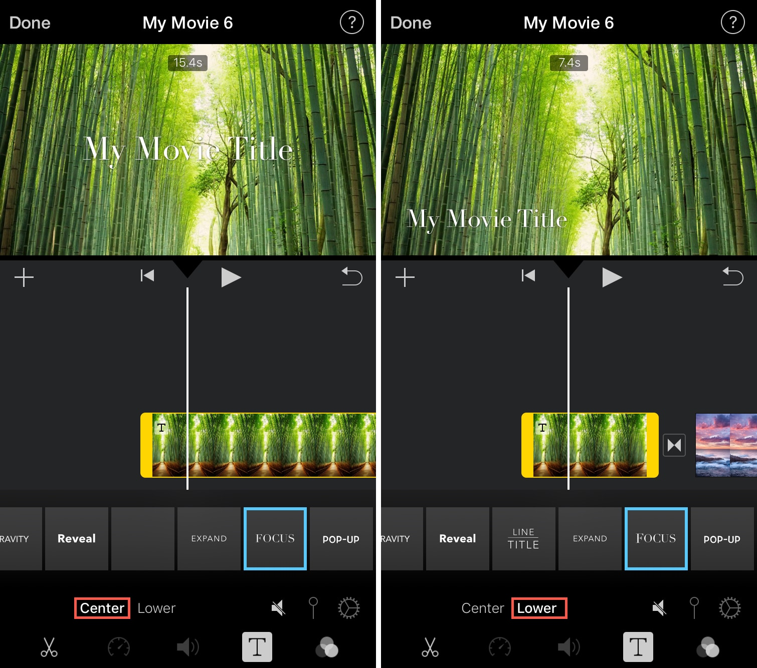 Position Title iMovie iPhone
