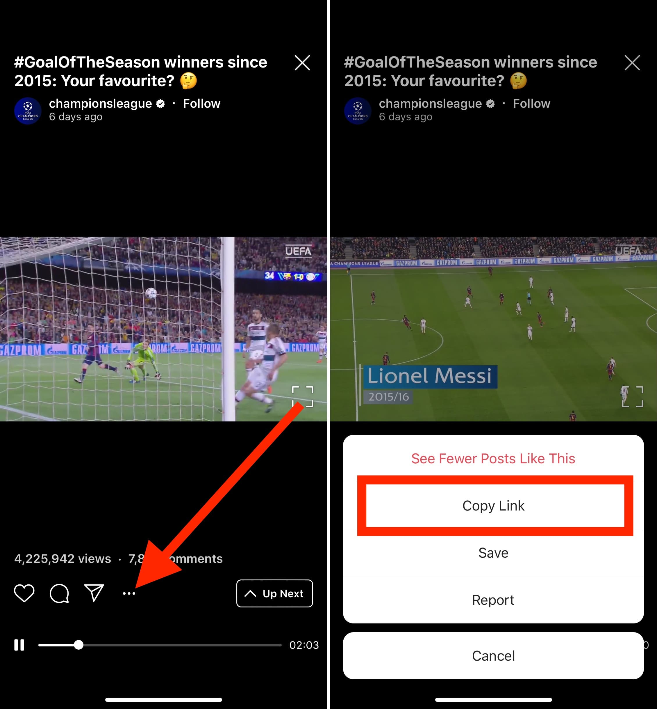 Select IGTV video you want to download