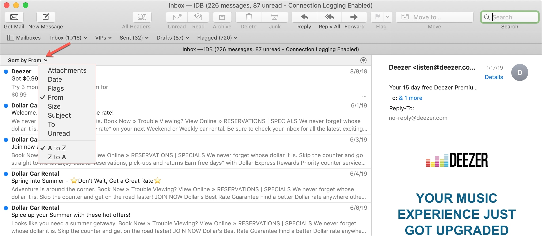 Sort Mail by From Default Layout