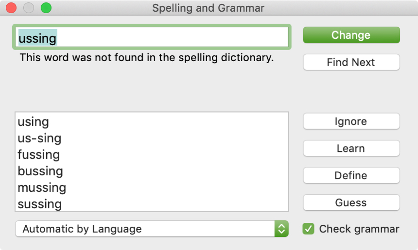 Spelling Grammar Check Popup Window Pages Mac