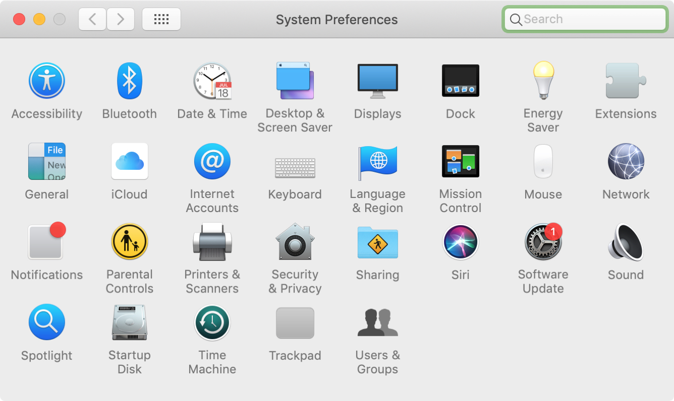 System Preferences Alpha on Mac