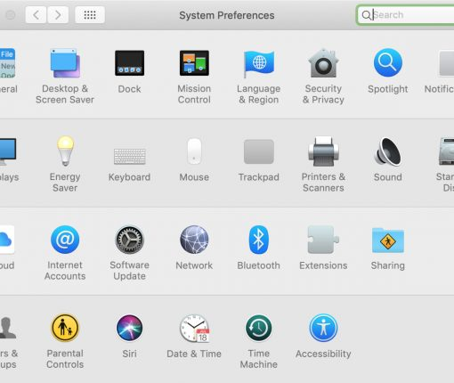 System Preferences Category on Mac