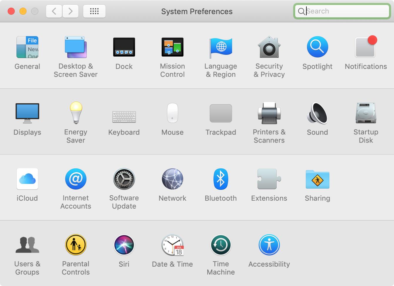 System Preferences Category on Mac