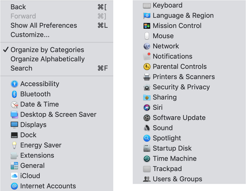 System Preferences View List on Mac